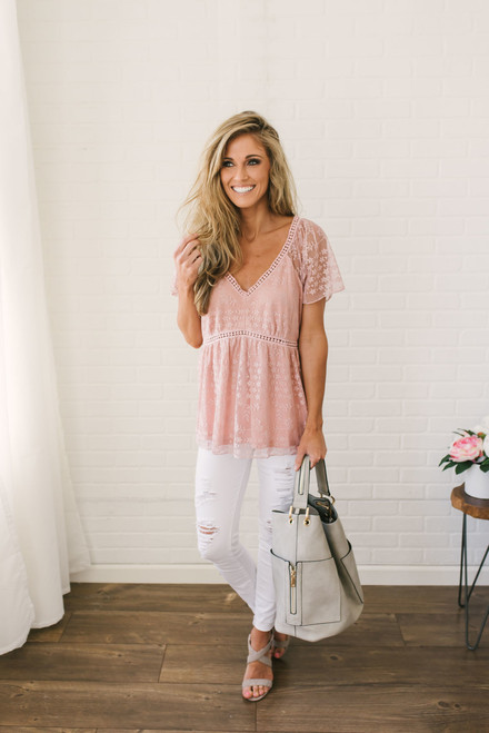 Short Sleeve V-Neck Lace Blouse - Dusty Pink