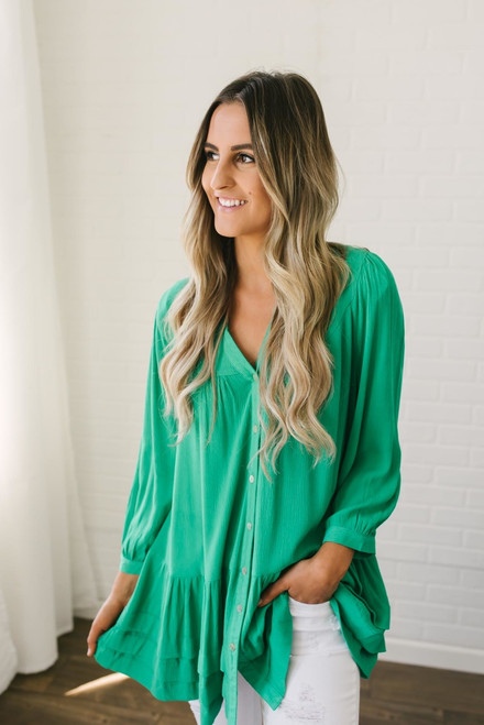 Lucky Clover Button Down Tiered Tunic - Green