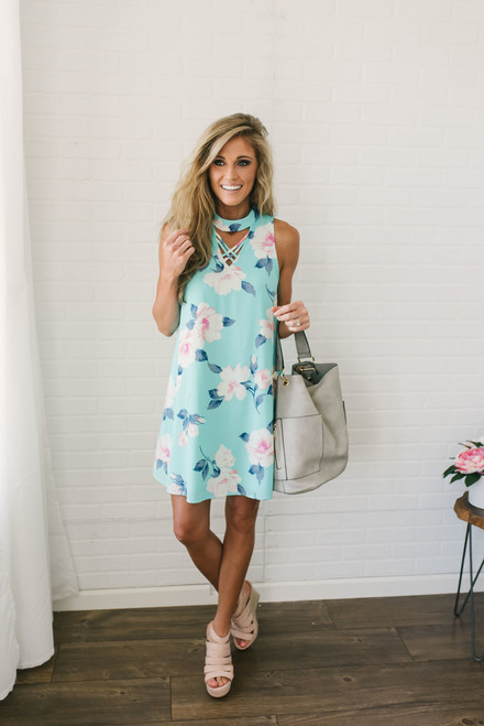 Aloha from Hawaii Floral Dress - Turquoise Multi - FINAL SALE