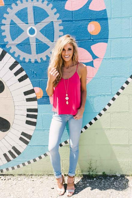 Sunset Boulevard Keyhole Back Tank - Pink - FINAL SALE