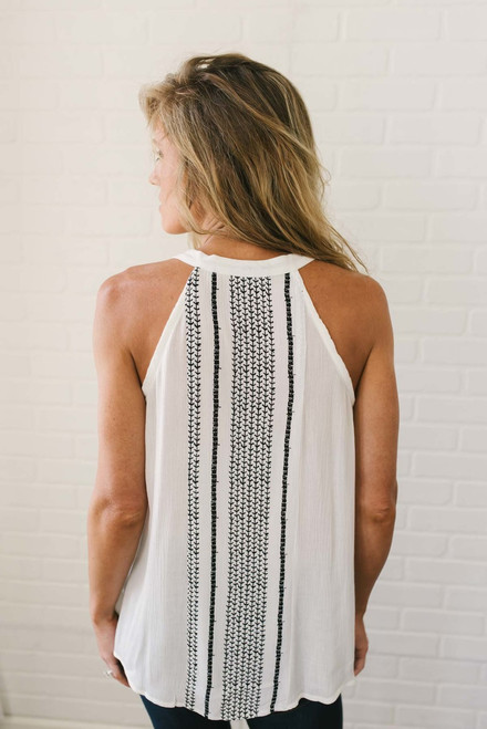 Tassel Tie Printed High Low Tank - Ivory/Black