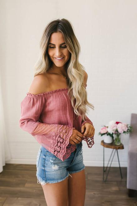 Off the Shoulder Lace Sleeve Top - Desert Rose