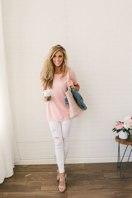 Thinking of You Scalloped Top - Blush