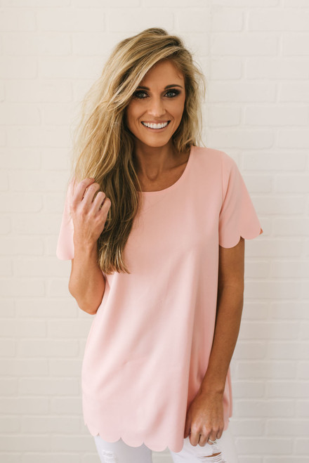 Thinking of You Scalloped Top - Blush- FINAL SALE