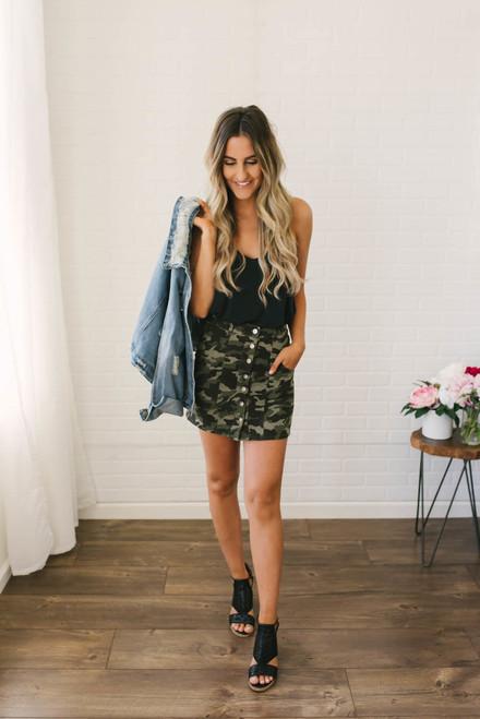 Aria Button Down Camo Skirt - Green