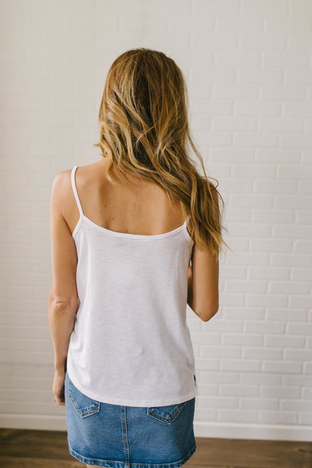 Starstruck V-Neck Lighweight Tank - White