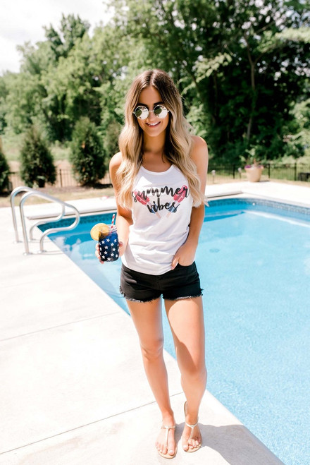 Summer Vibes Graphic Tank - White - FINAL SALE