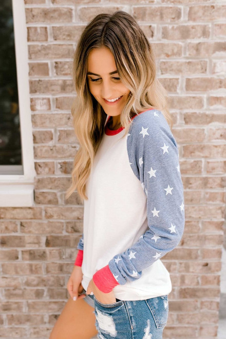 All American Girl Raglan Pullover - Ivory/Navy/Red - FINAL SALE