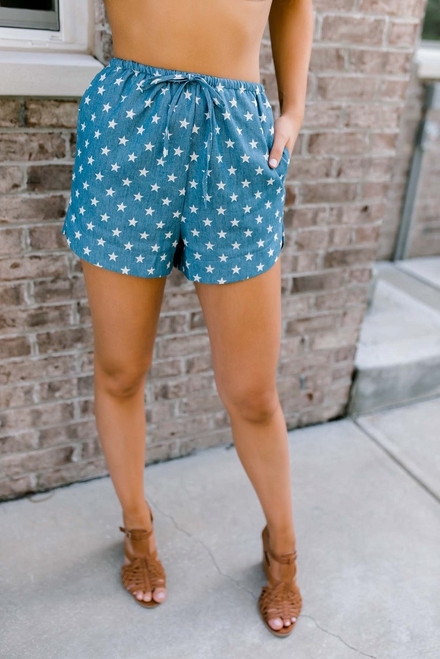 Oh My Stars Drawstring Shorts - Blue/White