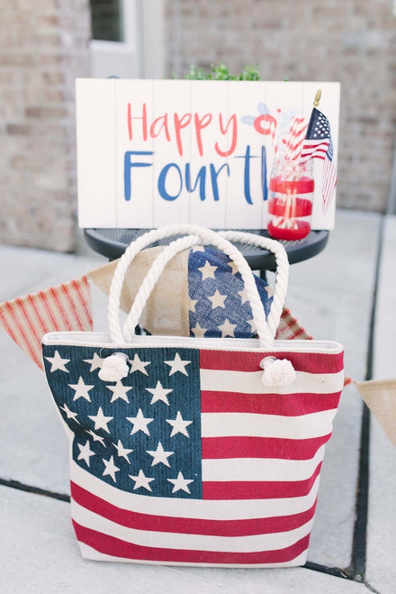 American Flag Canvas Tote - FINAL SALE