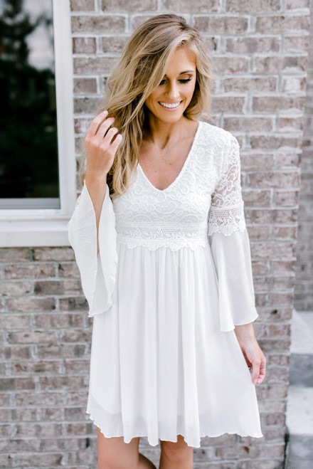 Serendipity Bell Sleeve Lace Dress - Off White