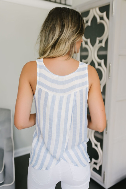 Serene Waters Striped Pocket Tank - Blue/White - FINAL SALE