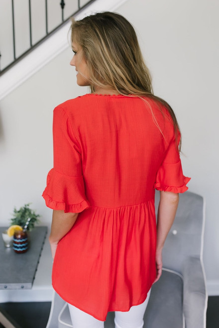 Ruffle Sleeve Floral Embroidered Top - Red