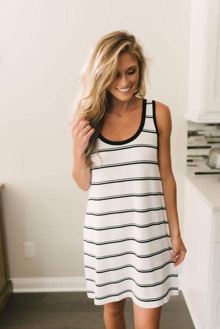 BB Dakota Vivana Striped Dress - White/Black