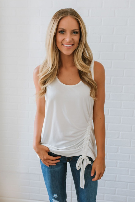Tallulah Ruched Side Tank - Ivory - FINAL SALE