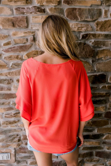 Double Ruffle Sleeve Top - Hot Coral