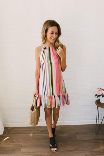 Boardwalk Carnival Striped Dress - Multi