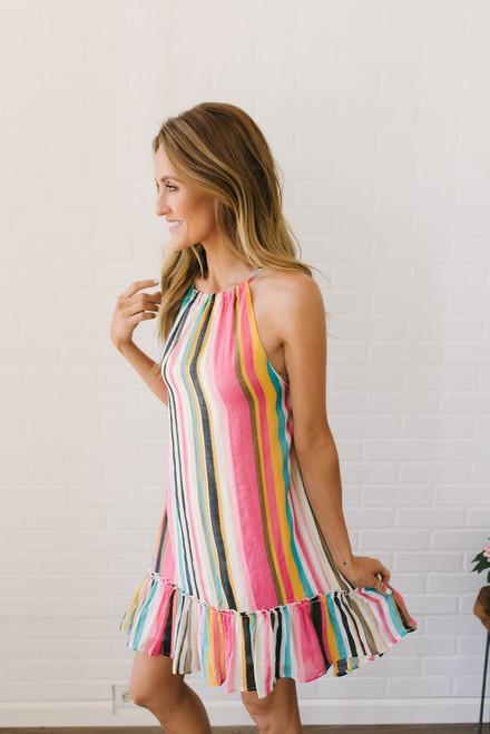Boardwalk Carnival Striped Dress - Multi - FINAL SALE