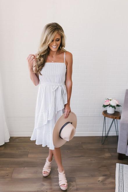 Asymmetrical Ruffle Striped Midi Dress - Off White/Navy