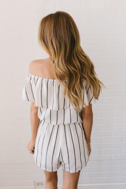Off the Shoulder Striped Romper - Cream/Navy
