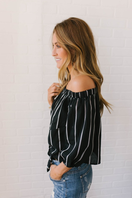 Off the Shoulder Striped Knot Top - Black/Cream