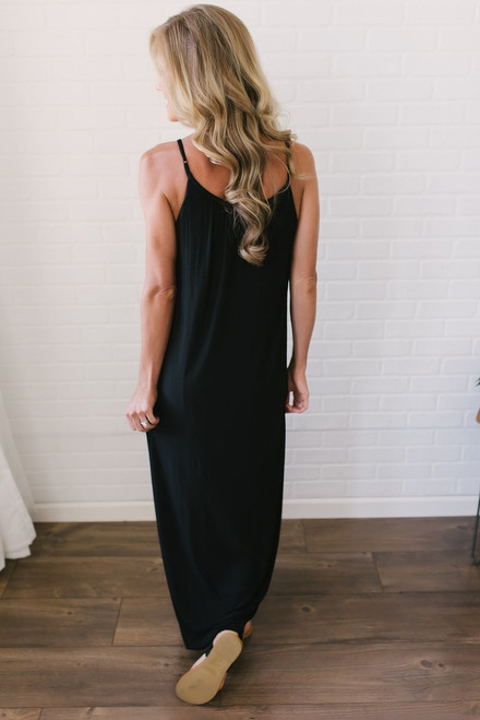 Gathered Front Maxi Dress - Black