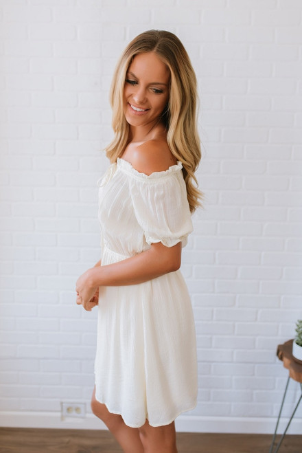 Off the Shoulder Crochet Detail Dress - Natural - FINAL SALE