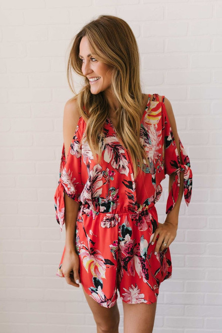 Faux Wrap Watercolor Floral Romper - Red Multi