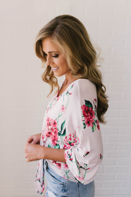 Summer Retreat Floral Knot Top - Pink Multi