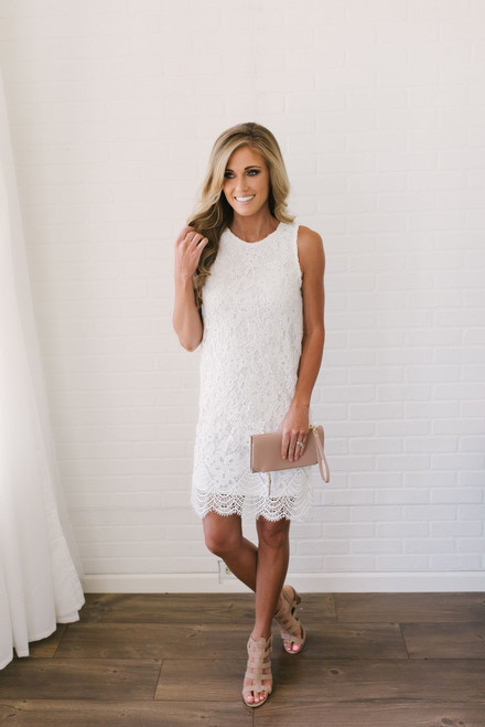 Sweet Bliss Scalloped Lace Dress - Off White