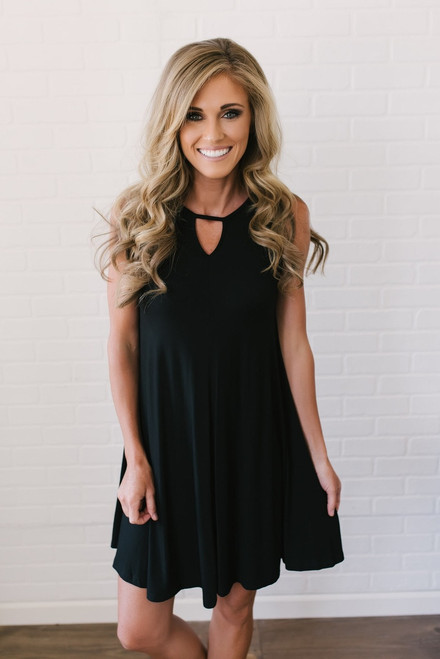 Prism Back Knit Swing Dress - Black- FINAL SALE
