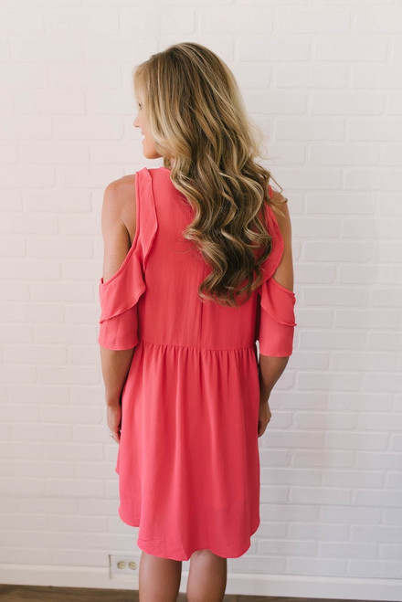 Summer Soiree Cold Shoulder Ruffle Dress - Hot Coral - FINAL SALE