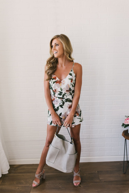Tropical Rainforest Floral Skort Romper - Off White Multi- FINAL SALE
