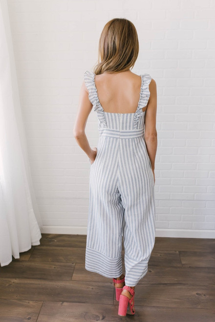French Rivera Striped Cropped Jumpsuit - Off White/Blue