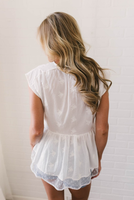 V-Neck Embroidered Babydoll Top - Off White