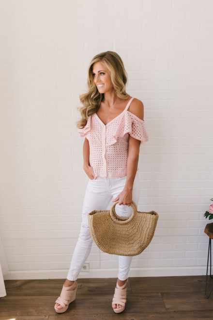 BB Dakota Arletta Cold Shoulder Eyelet Top - Pink