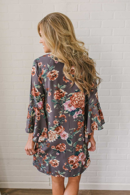 Everly Bell Sleeve Floral Dress - Charcoal Mauve - FINAL SALE