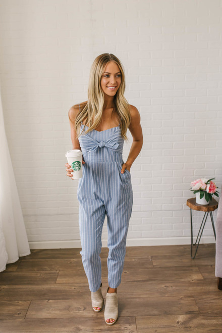 Tie Front Striped Jumpsuit - Blue/White