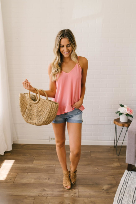 Beach Baby Ruffle Hem Tank - Sunset Coral - FINAL SALE