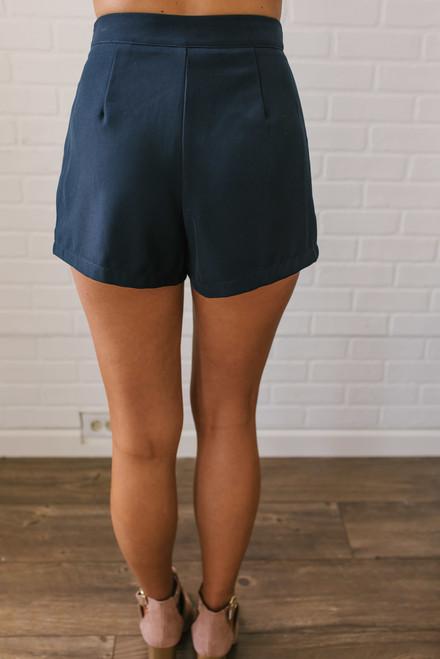 Parisian Summer Pleated Shorts - Navy