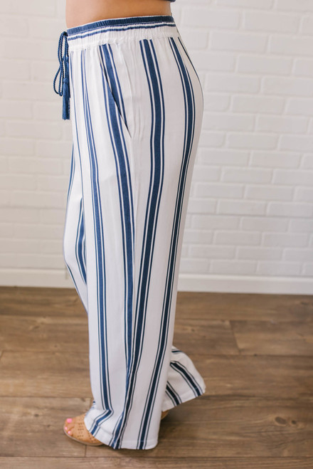 BB Dakota Gove Striped Pants - Navy/White
