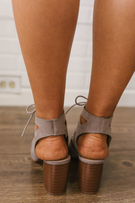 Lace Up Cutout Booties - Taupe