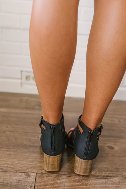 Ines Strappy High Heeled Sandals - Black - FINAL SALE
