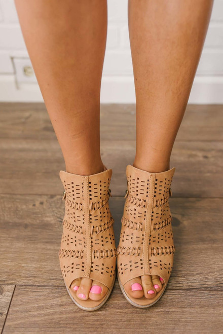 Perforated Slingback Heeled Sandals - Tan