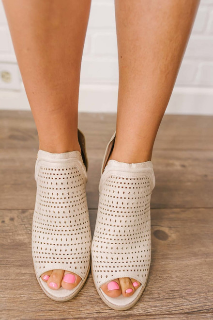 Madison Park Peep Toe Perforated Booties - Stone - FINAL SALE
