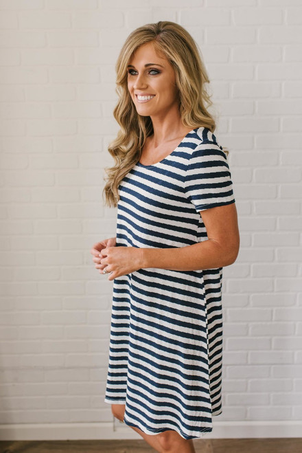 Criss Cross Back Striped Dress - Navy/White - FINAL SALE
