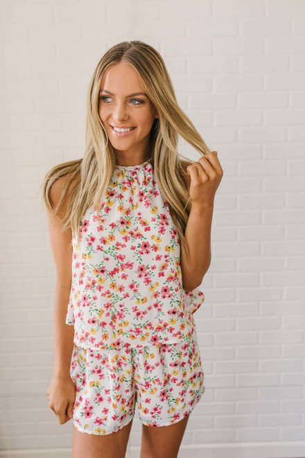 Jack by BB Dakota Eva Floral Romper - White Multi - FINAL SALE