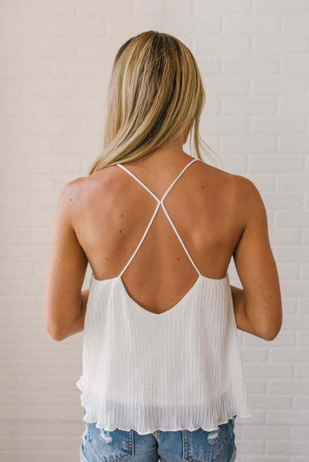 Riptide Textured Strappy Tank - Off White