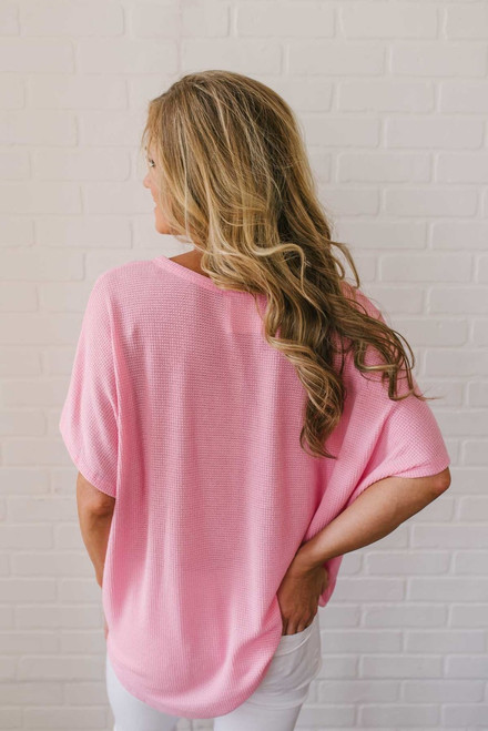 Short Sleeve Thermal Knot Top - Pink