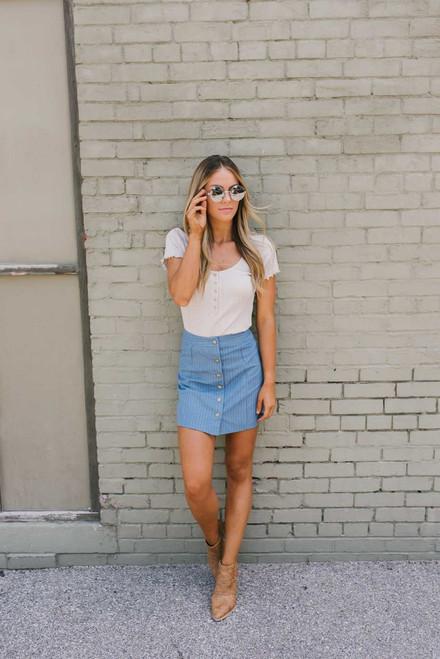 Button Down Pinstripe Skirt - Denim Blue